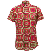 Tailored Fit Short Sleeve Shirt - Red Illusion