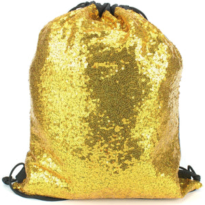 Sequin Drawstring Bag - Gold