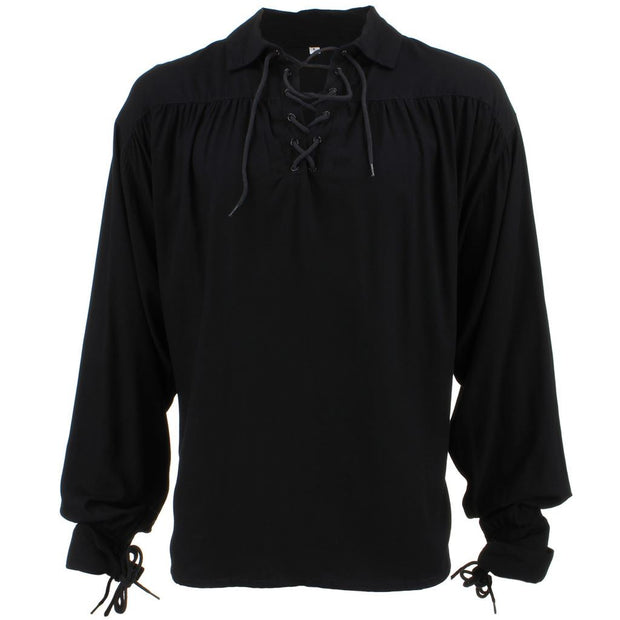 Long Sleeve Rayon Pirate Shirt - Black