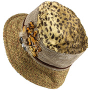 Ladies Mixed Fabric Cloche Hat with Leopard Print Crown