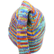 Wool Knit 'Tinky Winky' Tail Beanie Hat - Rainbow SD