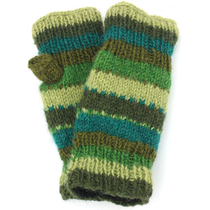 Wool Knit Arm Warmer - Stripe - Green
