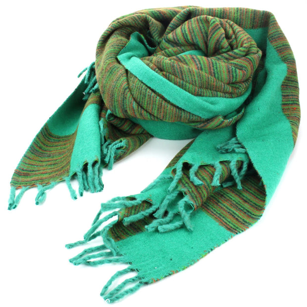 Tibetan Wool Blend Shawl Blanket - Light Green with Green & Red Reverse