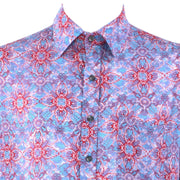 Regular Fit Short Sleeve Shirt - Blue & red Abstract