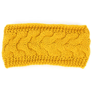 Knitted Bowknot Ribbed Headband - Mustard