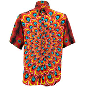 Regular Fit Short Sleeve Shirt - Peacock Mandala - Flame