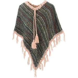 Stripe Crochet Poncho Short - Green Multi/Pink