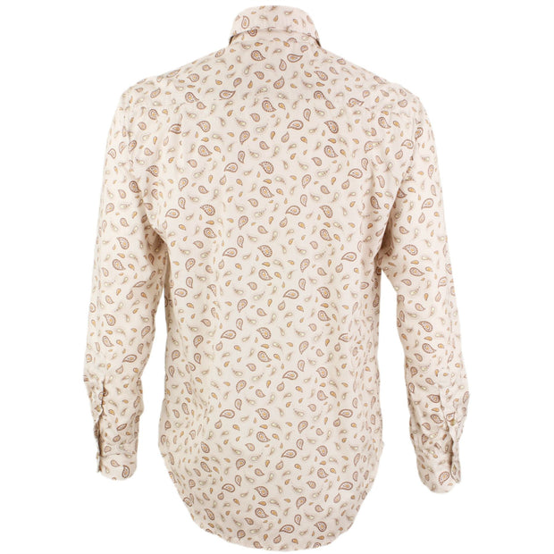 Regular Fit Long Sleeve Shirt - Beige Paisley