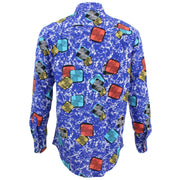 Regular Fit Long Sleeve Shirt - Oily Blue Squares