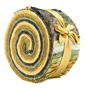 Cotton Batik Pre Cut Fabric Bundles - Jelly Roll - Gold