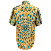 Regular Fit Short Sleeve Shirt - Peacock Mandala - Yellow