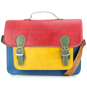 Real Leather Colourful Satchel Messenger Shoulder Bag - Red & Yellow Mix