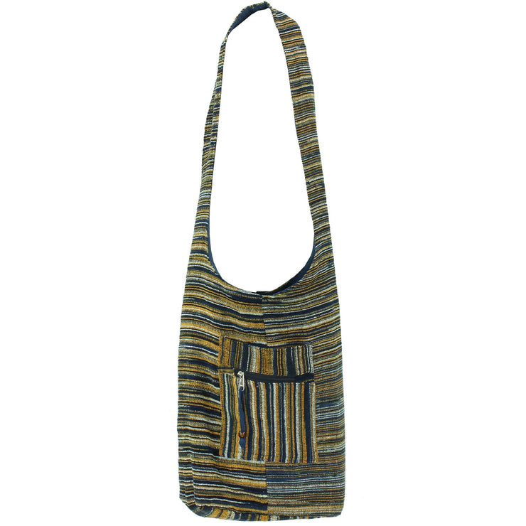 Striped Chenille Sling Shoulder Bag - Navy Orange