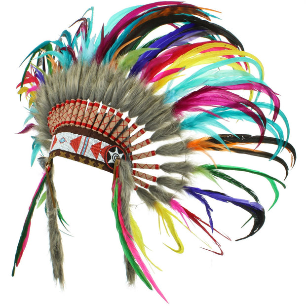 Native Amercian Chief Headdress - Rainbow