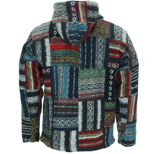 Fleece Lined Brushed Cotton Hooded Jacket Cardigan - Patchwork