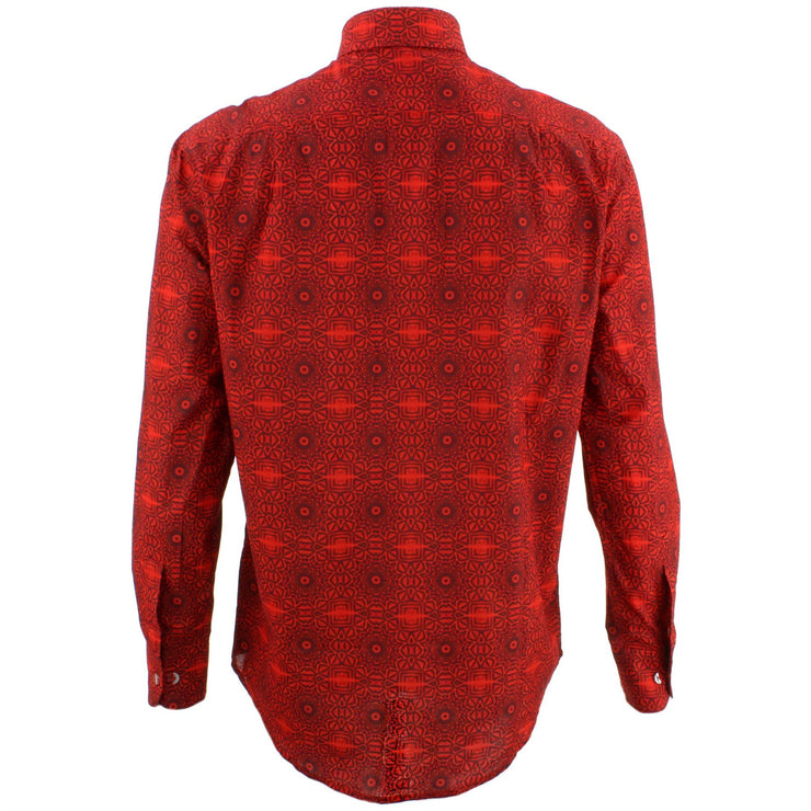 Regular Fit Long Sleeve Shirt - Red Psychadelic Tribal