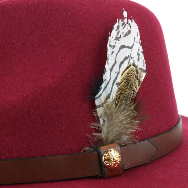 Wool Felt Fedora with Feather - Wine
