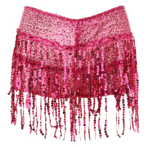 Sequin Tassel Hot Pants - Fuchsia