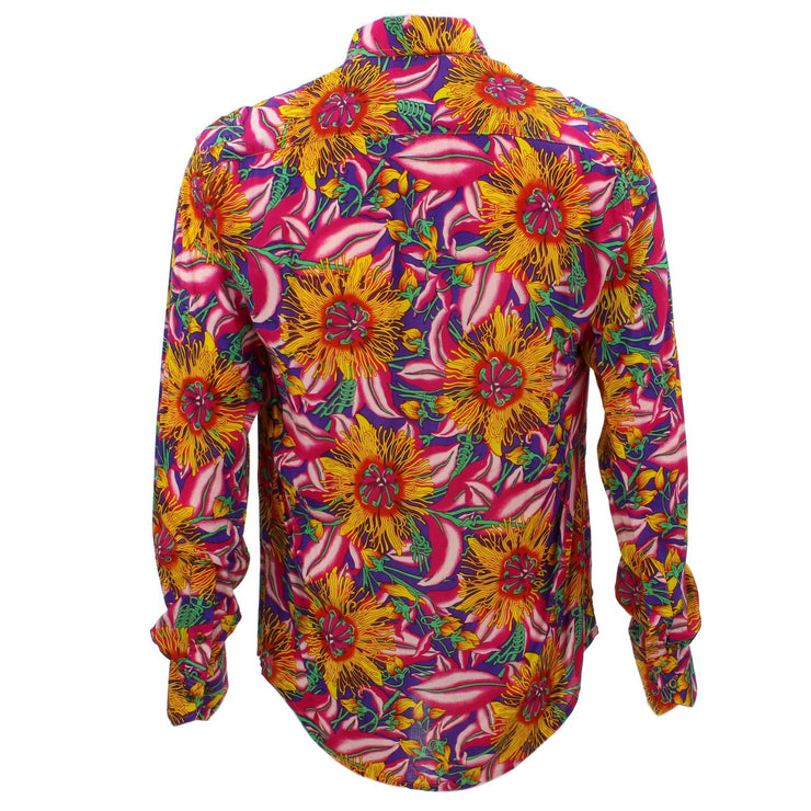 Tailored Fit Long Sleeve Shirt - Bright Pink & Orange Floral on Purple