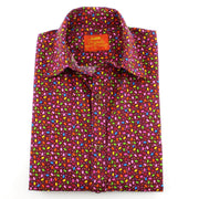 Tailored Fit Short Sleeve Shirt - Dark Purple Multi-coloured Ovals