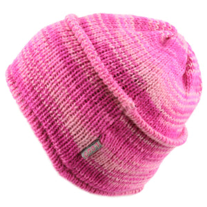 Wool knit ridge beanie hat with fleece lining - Pink Space Dye