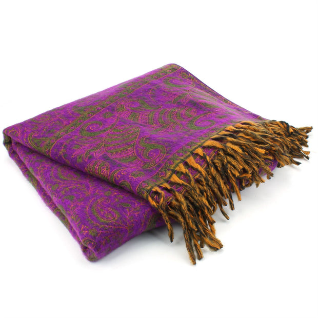 Acrylic Wool Shawl Blanket - Paisley - Purple
