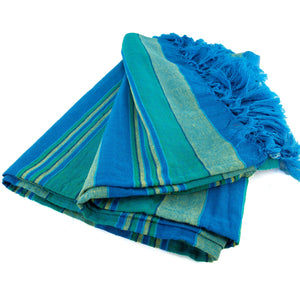 Large Cotton Stripe Blanket With Tassel Edging - Teal