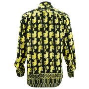 Regular Fit Long Sleeve Shirt - Herd of Elephants - Black