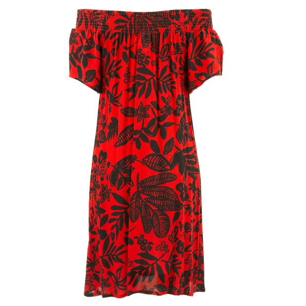 Shirred Comfy Dress - Red Hibiscus