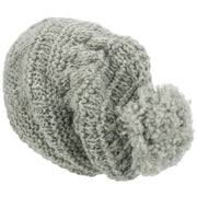 Wool Knit Bobble Beanie Hat - Light Grey