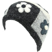 Ladies Wool Knit Beanie Hat with Flower Patch Design - Charcoal