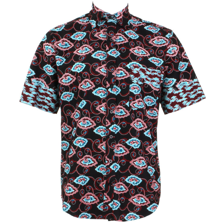 Regular Fit Short Sleeve Shirt - Black Red & Turquoise Abstract