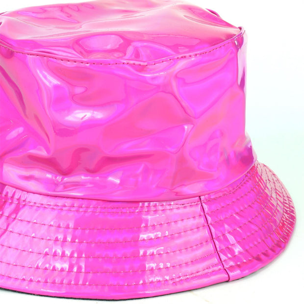 Shiny Metallic Bucket Hat - Fuchsia