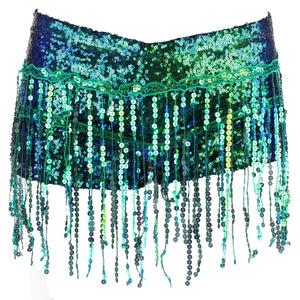 Sequin Tassel Hot Pants - Green