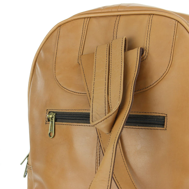 Real Leather Backpack Rucksack Bag - Tan