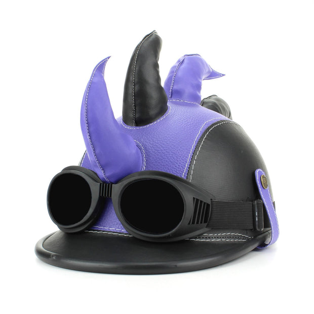 Saw Blade Mohawk Horned Novelty Festival Helmet with Goggles - Purple & Black