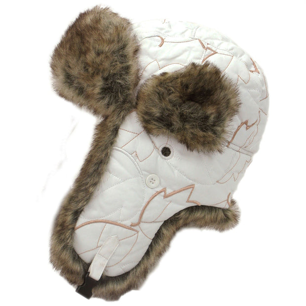 Trapper hat with gold pattern and faur fur trim - White