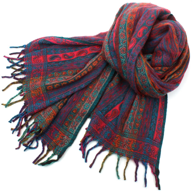 Acrylic Wool Shawl Blanket - Stripe - Teal & Red