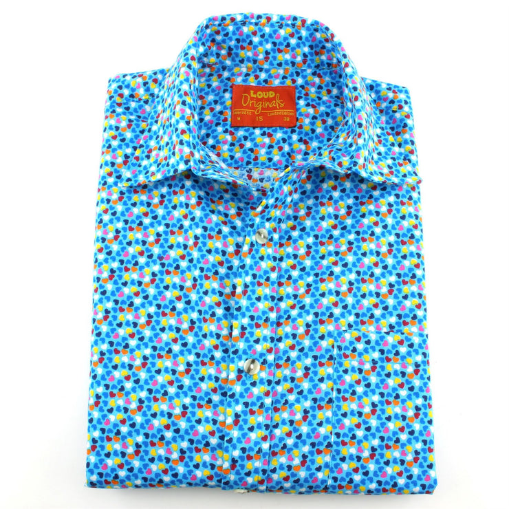 Tailored Fit Short Sleeve Shirt - Blue Multi-coloured Hearts