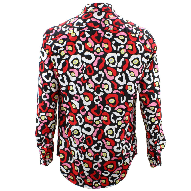 Tailored Fit Long Sleeve Shirt - Red Pink & White Abstract