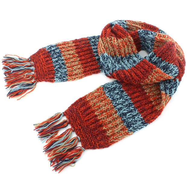 Chunky Wool Knit Abstract Pattern Scarf - Red