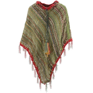 Stripe Crochet Poncho Long - Green