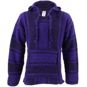 Mexican Baja Jerga Hoody - Purple & Black