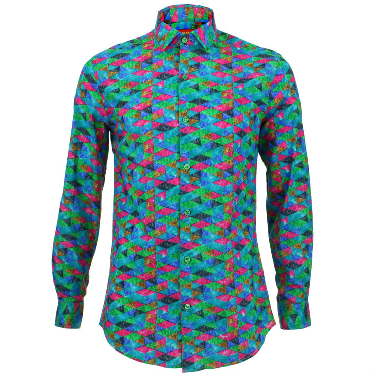 Tailored Fit Long Sleeve Shirt - Pink Blue Harlequin