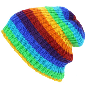 Wool Knit Ribbed Beanie Hat with Fleece Lining