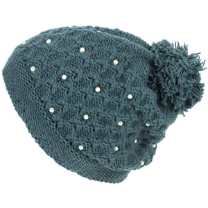 Pearl Lattice Bobble Beanie Hat - Green