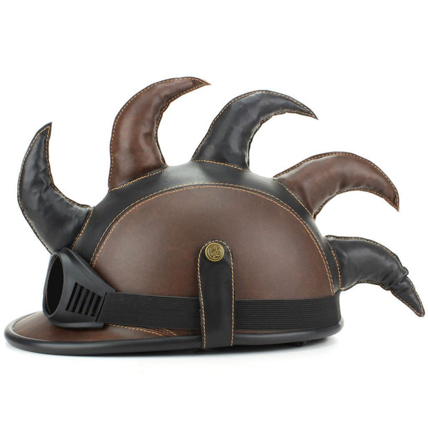 Saw Blade Mohawk Horned Novelty Festival Helmet with Goggles - Black & Brown