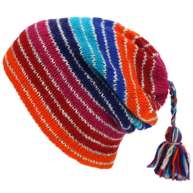 Wool Knit Tassel Beanie Hat - Stripe Blue