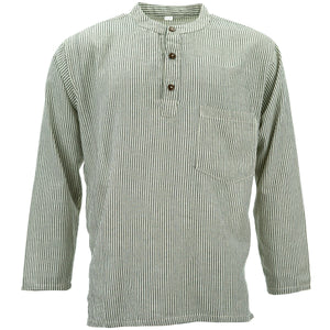 Cotton Grandad Collar Shirt - Cream Black Stripe