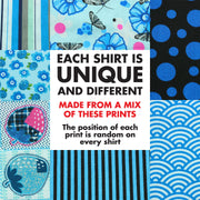 Regular Fit Short Sleeve Shirt - Random Mixed Panel - Blues